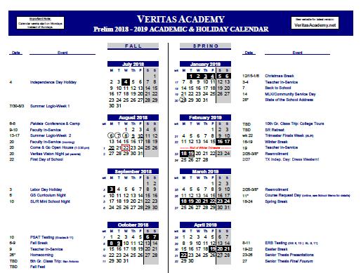 School Calendar Veritas Academy